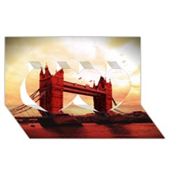 London Tower Bridge Red Twin Hearts 3D Greeting Card (8x4)