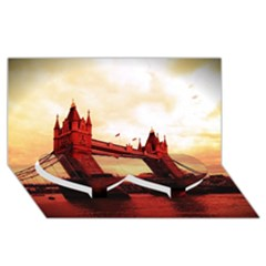 London Tower Bridge Red Twin Heart Bottom 3d Greeting Card (8x4)