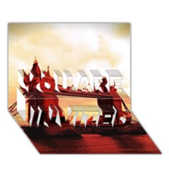London Tower Bridge Red You Are Invited 3d Greeting Card (7x5)