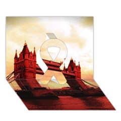 London Tower Bridge Red Ribbon 3D Greeting Card (7x5)