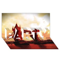 London Tower Bridge Red PARTY 3D Greeting Card (8x4)