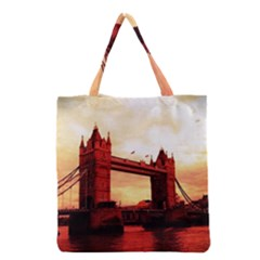 London Tower Bridge Red Grocery Tote Bags