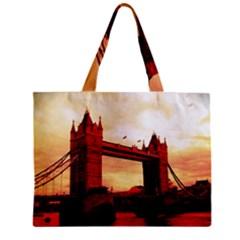 London Tower Bridge Red Zipper Tiny Tote Bags