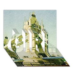 Watercolors, London Tower Bridge Girl 3d Greeting Card (7x5)