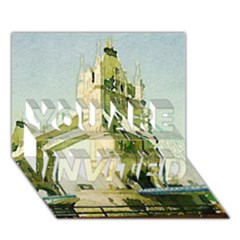 Watercolors, London Tower Bridge YOU ARE INVITED 3D Greeting Card (7x5)