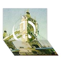 Watercolors, London Tower Bridge Peace Sign 3d Greeting Card (7x5)