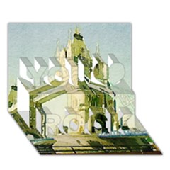 Watercolors, London Tower Bridge You Rock 3d Greeting Card (7x5)