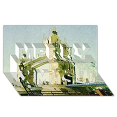 Watercolors, London Tower Bridge Merry Xmas 3d Greeting Card (8x4)