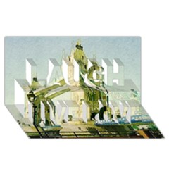 Watercolors, London Tower Bridge Laugh Live Love 3D Greeting Card (8x4)