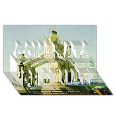 Watercolors, London Tower Bridge Congrats Graduate 3D Greeting Card (8x4)