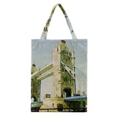 Watercolors, London Tower Bridge Classic Tote Bags