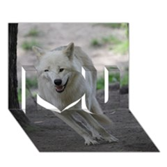 White Wolf I Love You 3d Greeting Card (7x5)