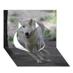 White Wolf Heart 3D Greeting Card (7x5)