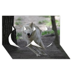 White Wolf Twin Hearts 3D Greeting Card (8x4)