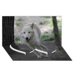 White Wolf Twin Heart Bottom 3D Greeting Card (8x4)