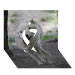 White Wolf Ribbon 3D Greeting Card (7x5)