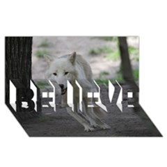 White Wolf Believe 3d Greeting Card (8x4)