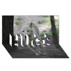 White Wolf HUGS 3D Greeting Card (8x4)