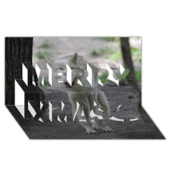 White Wolf Merry Xmas 3D Greeting Card (8x4)