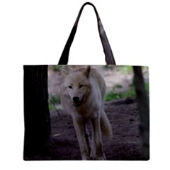 White Wolf Zipper Tiny Tote Bags
