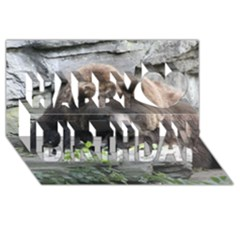 Tired Bear Happy Birthday 3D Greeting Card (8x4)