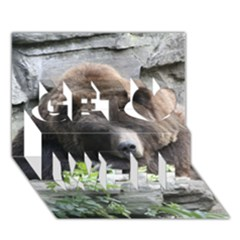 Tired Bear Get Well 3D Greeting Card (7x5)