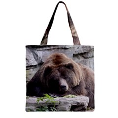 Tired Bear Zipper Grocery Tote Bags