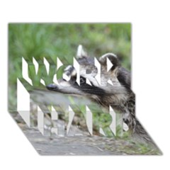 Racoon 1115 Work Hard 3d Greeting Card (7x5)