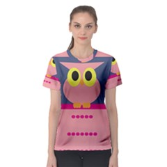 Cute and whimsical pink owl Women s Sport Mesh Tee