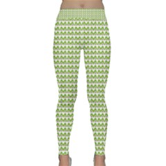 Green and White Fishbone Zig Zag Yoga Leggings