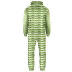 Green And White Fishbone Zig Zag Hooded Jumpsuit (men)