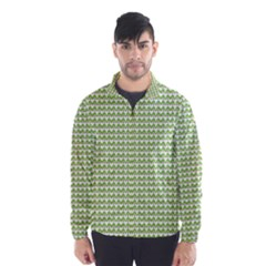 Green And White Fishbone Zig Zag Wind Breaker (men)