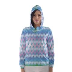 Fishbone Chevron ZIg Zag Rainbow Hooded Wind Breaker (Women)