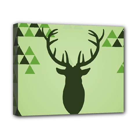Modern Geometric Black And Green Christmas Deer Canvas 10  x 8