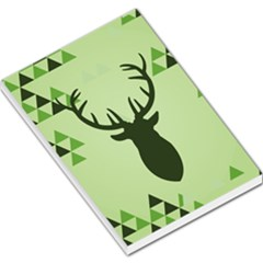 Modern Geometric Black And Green Christmas Deer Large Memo Pads
