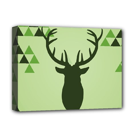 Modern Geometric Black And Green Christmas Deer Deluxe Canvas 16  x 12