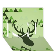 Modern Geometric Black And Green Christmas Deer I Love You 3D Greeting Card (7x5)