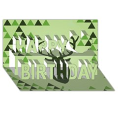 Modern Geometric Black And Green Christmas Deer Happy Birthday 3d Greeting Card (8x4)