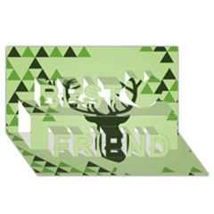 Modern Geometric Black And Green Christmas Deer Best Friends 3d Greeting Card (8x4)