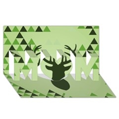 Modern Geometric Black And Green Christmas Deer MOM 3D Greeting Card (8x4)