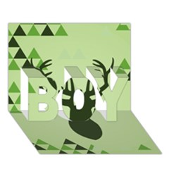 Modern Geometric Black And Green Christmas Deer Boy 3d Greeting Card (7x5)