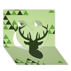 Modern Geometric Black And Green Christmas Deer Heart 3d Greeting Card (7x5)