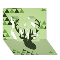 Modern Geometric Black And Green Christmas Deer LOVE 3D Greeting Card (7x5)