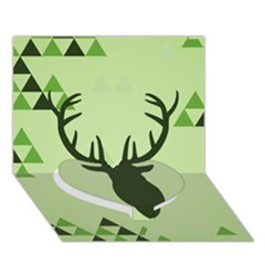 Modern Geometric Black And Green Christmas Deer Heart Bottom 3D Greeting Card (7x5)