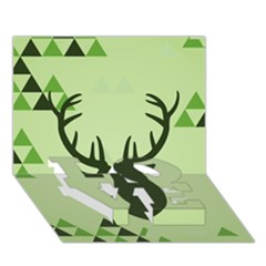 Modern Geometric Black And Green Christmas Deer LOVE Bottom 3D Greeting Card (7x5)
