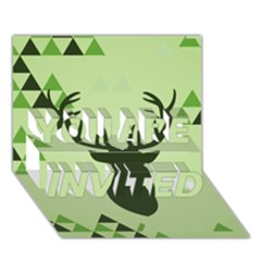 Modern Geometric Black And Green Christmas Deer YOU ARE INVITED 3D Greeting Card (7x5)
