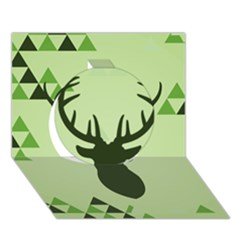 Modern Geometric Black And Green Christmas Deer Circle 3d Greeting Card (7x5)