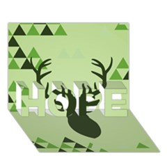 Modern Geometric Black And Green Christmas Deer HOPE 3D Greeting Card (7x5)