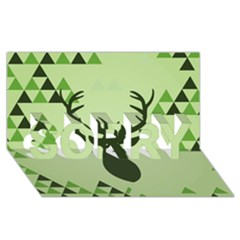 Modern Geometric Black And Green Christmas Deer SORRY 3D Greeting Card (8x4)