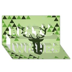 Modern Geometric Black And Green Christmas Deer Best Wish 3d Greeting Card (8x4)